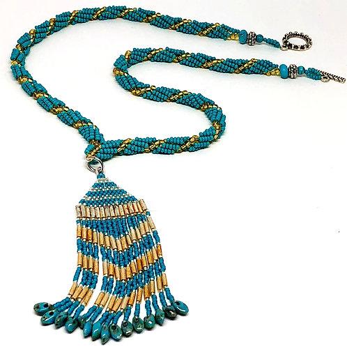 Turquoise Silver Fringe Necklace