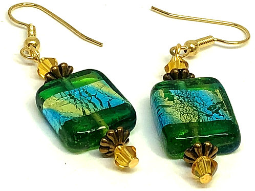 Green with Gold Stripe Rectangle Gold Spacer Earrings