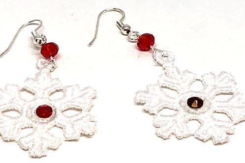 White Snowflake Swarvoski Rhinestone Earrings