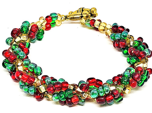 Green Red Gold Spiral Beadweaving Bracelet