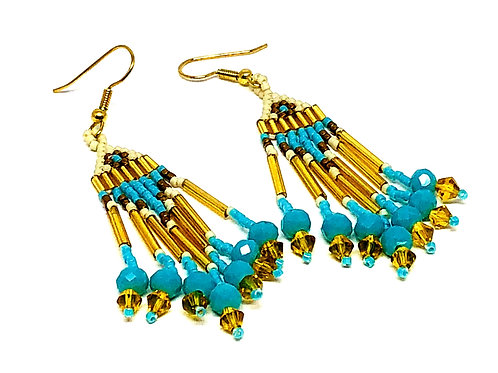 Turquoise Bronze with Turquoise Rondelle Fringe Earrings