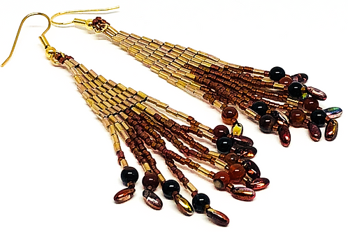 Bronze Gold Rizo Fringe Earrings