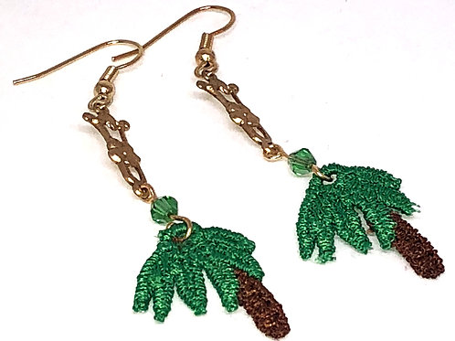 Palm Tree with Metal Connector 2 Earrings