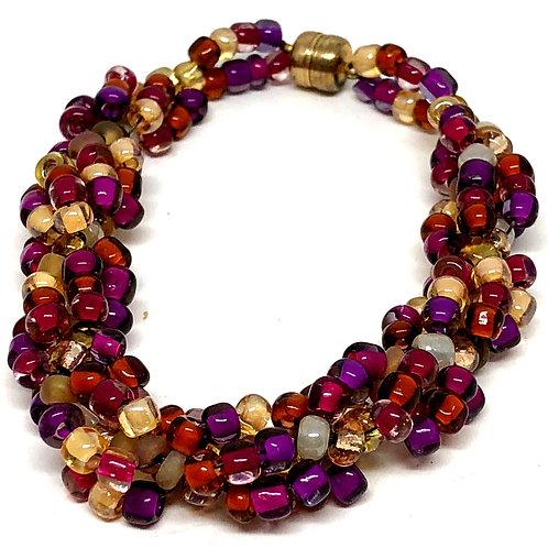 Crystal Mauve Varigated Spiral Beadweaving Bracelet