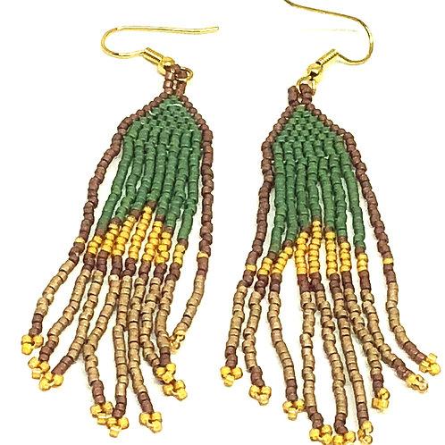 Green Taupe Fringe Earrings