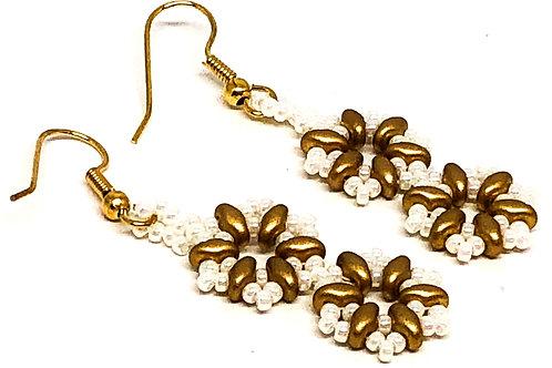 White Bronze Double Snowflake Earrings