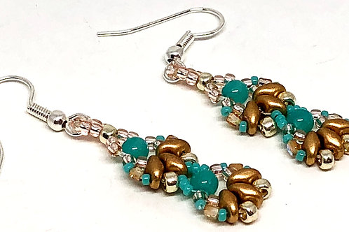 Turquoise Gold Silver Shell 2 Unit Earrings