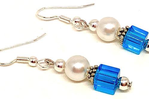Pearl Blue Cube Bead Earrings