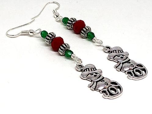Red Green Christmas Snowman Charm Earrings