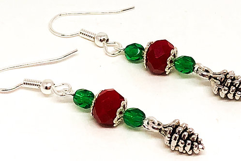 Red Green Christmas Pine Cone Charm Earrings