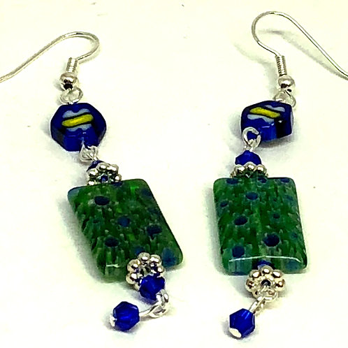Green Blue Rectangle Octagon Silver Spacer Earrings