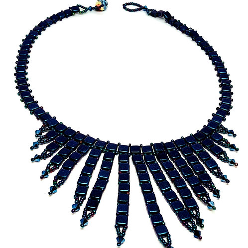 Blue Metallic TIle Beadweaving Spike Statement Necklace