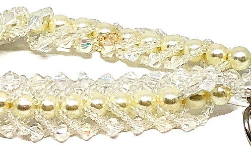 Crystal Pearl Flat Spiral Beadweaving Bracelet