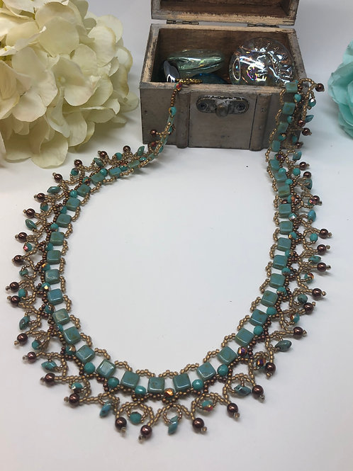 Turquoise Picasso Bronze Tile Beadweaving Necklace
