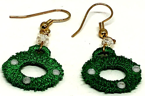 Green Lace Small Wreath with Rhinestone Earrings