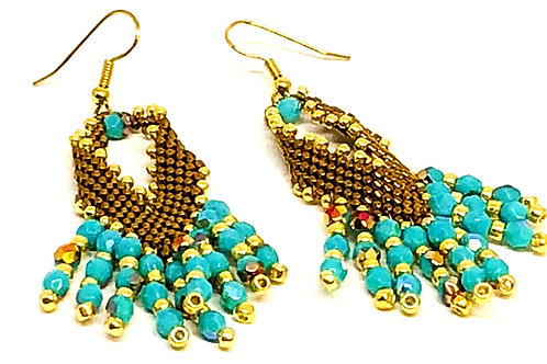 Bronze Turquoise Russian Leaf with Turquoise Drops Earrings