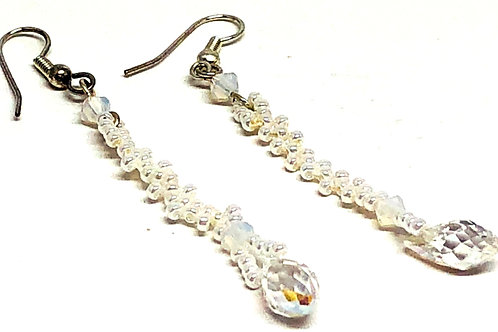 Pearl Crystal Drop Dangle Beadweaving Earrings