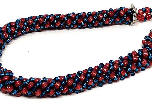 Cranberry Blue Russian Spiral Beadweaving Bracelet
