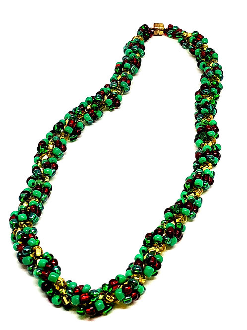 Green Red Spiral Necklace