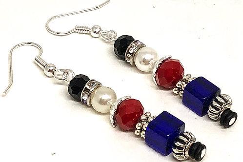 Red Blue Christmas Nutcracker Earrings