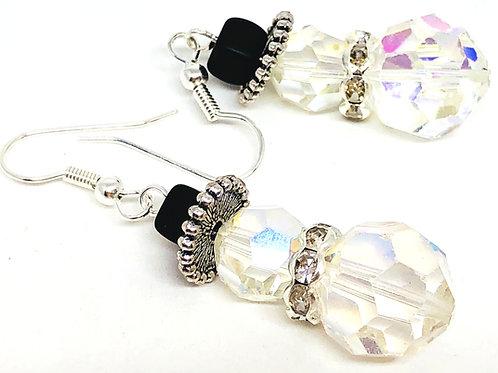 Medium Crystal Snowman with Rhinestone Scarf Earrings