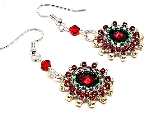 Red Green Gold Rivoli Bezeled Earrings