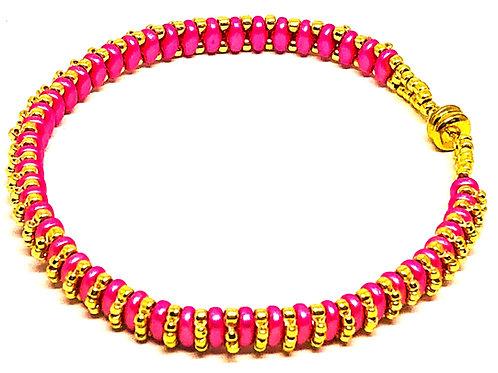 Think Pink Cancer Awareness Gold Superduo Beadweaving Bracelet