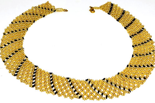 Gold Black Netting Beadweaving Necklace