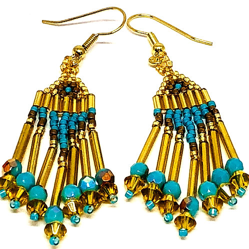 Turquoise Bronze Gold Fringe Earrings