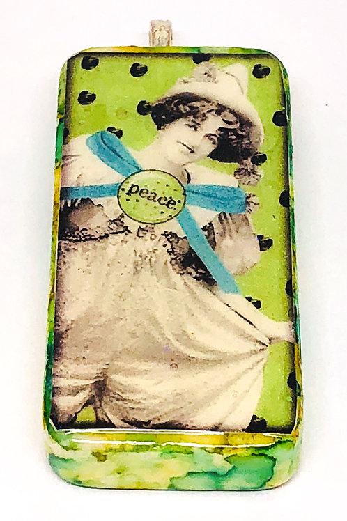 Green Vintage Background with Peace Girl Altered Art Domino Pendant