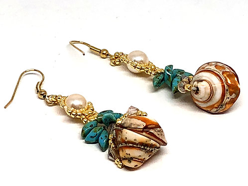 Pearl Turquoise Large Shell Dangle Earrings