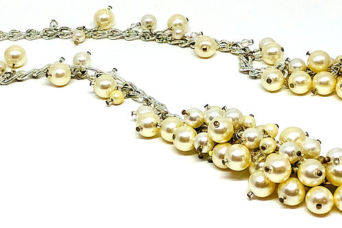Pearl Cluster and Silver Chain Necklace
