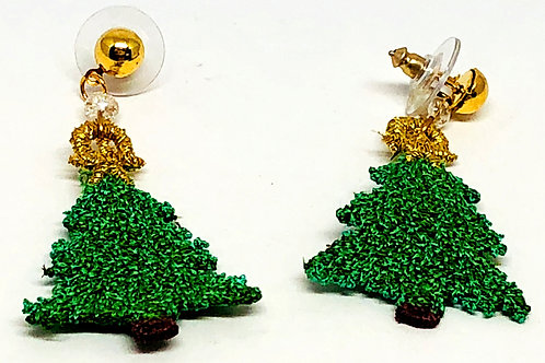 Green Lace Christmas Tree Earrings