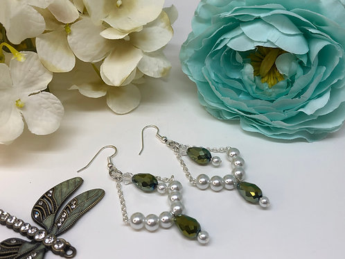 Pearl and Green Metallic Dangle with Green Center Drop Earrings
