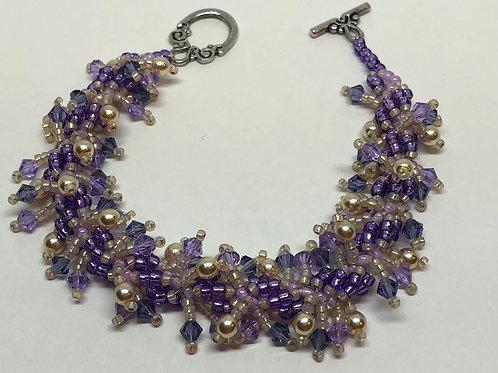 Purple Pink Shaggy Spiral Beadweaving Bracelet