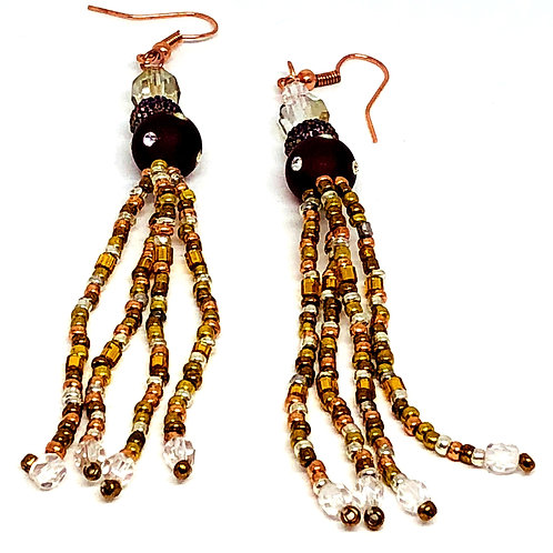 Metallic Bronze Red Polka Dot Fringe Earrings