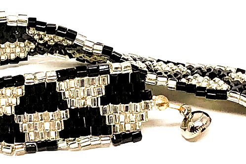 Black and White Square Stitch Beadweaving Bracelet