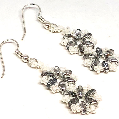 White Silver Double Snowflake Earrings