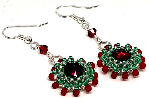 Green Red Silver Rivoli Bezeled Earrings