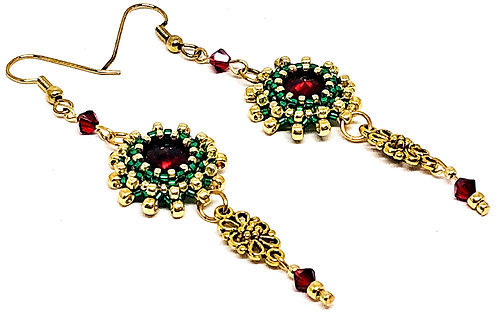 Red Green with Flower Drop Rivoli Earrings