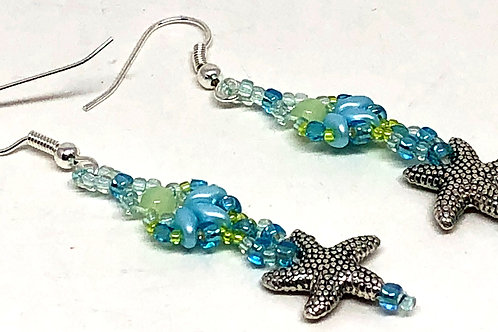 Blue Green Shell Textured Starfish Earrings