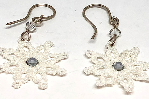 White Lace Snowflake with Rhinestone Sterling Silver Earrings
