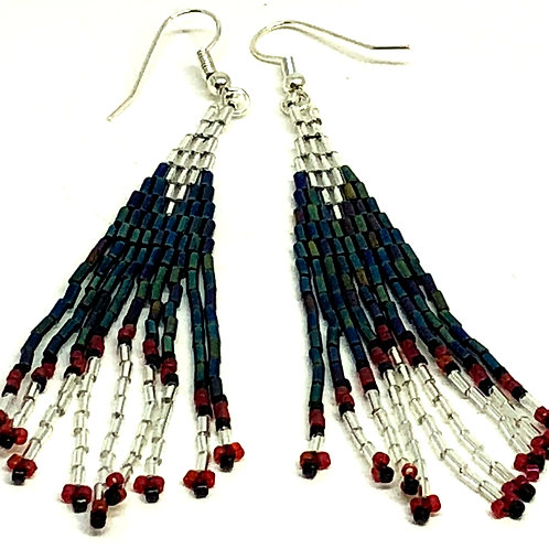 Red Black Crystal Fringe Earrings