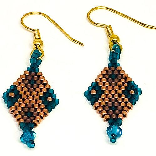 Bronze Green Beadweaving Diamond Earrings