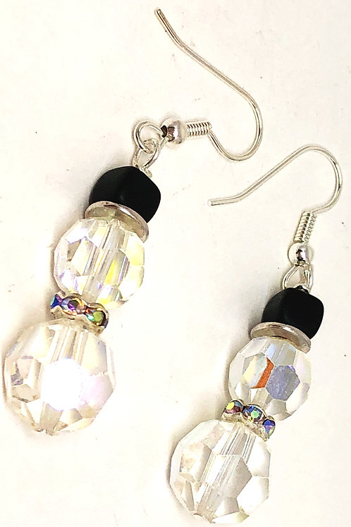 Small Crystal Snowman with Rhinestone Scarf Earrings