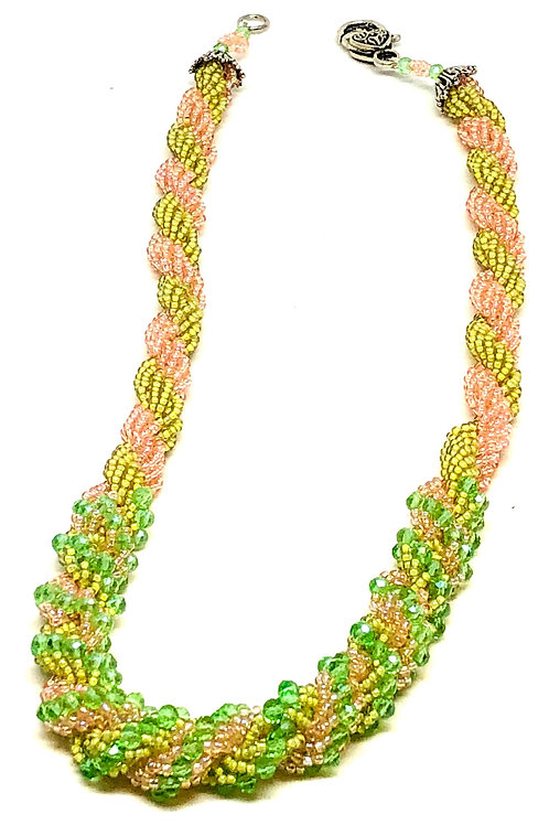 Pink Green Double Spiral Necklace
