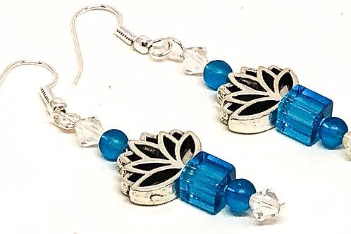 Blue Cube Lotus Bead Earrings