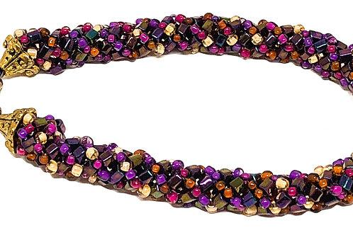 Purple Mauve Bugle Bead Russian Spiral Beadweaving Bracelet
