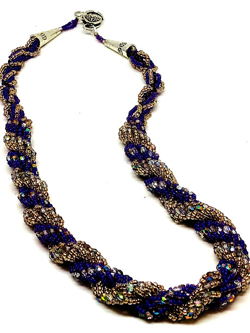 Purple Silver Double Spiral Necklace