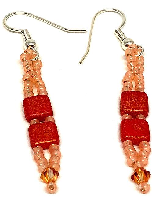 Peach Tile Beads with Swarvoski Crystals Beadweaving Earrings
